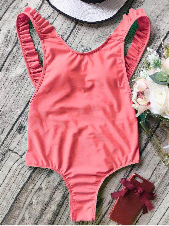 Open Back Ruffle Strap One Piece Swimsuit - ORANGEPINK M