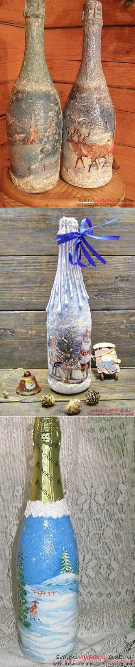 Роспись по стеклу бутылки на тему новогодней тематики своими руками - мастер-класс