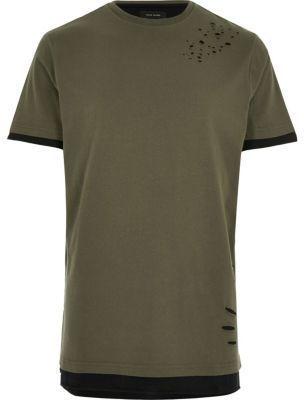 River Island Mens Khaki distressed longline T-shirt