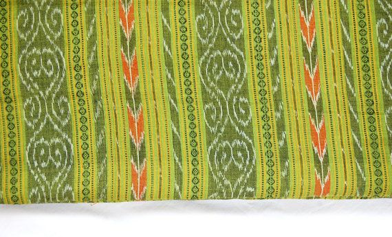 Green combination Hand-woven Ikat Fabric By Orissa Weavers
