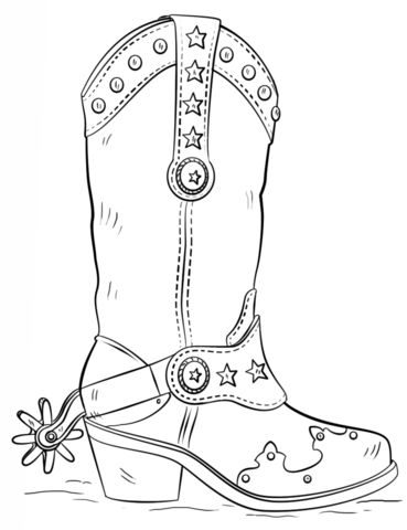 Cowboy Boot coloring page from Clothes and Shoes category. Select from 20946 printable crafts of cartoons, nature, animals, Bible and many more.