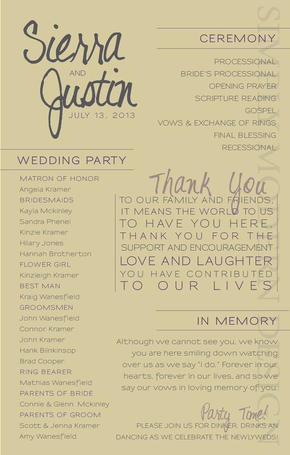 Modern Wedding Ceremony Program Wedding Party Bridal Party Wedding Ceremony Order Of Events