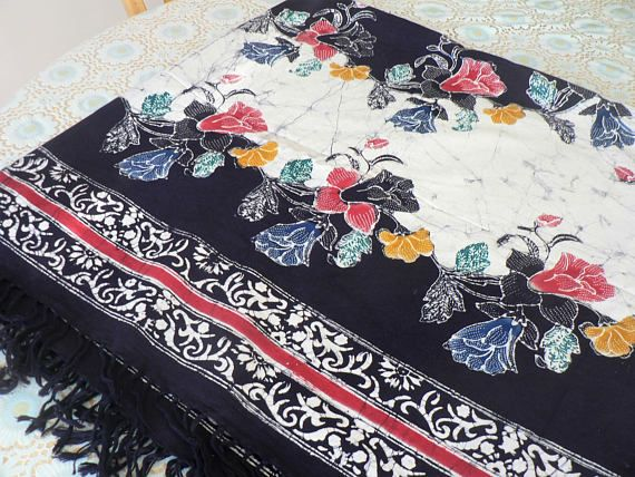 Batik Tablecloth with Fringe Floral Blue White Red