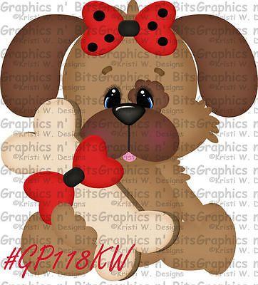 S- SL- VALENTINE PUPPY DOG ~ Scrapbook Embellishment GNB61