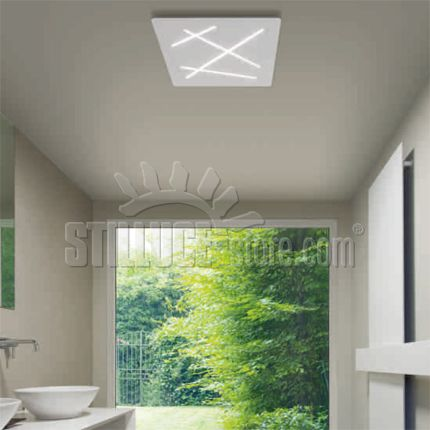 Linealight Ma&De Next lampada da soffitto a LED disponibile in tre misure. Materiale termoplastico verniciato bianco raggrinzante, diffusore in poicarbonato satinato.