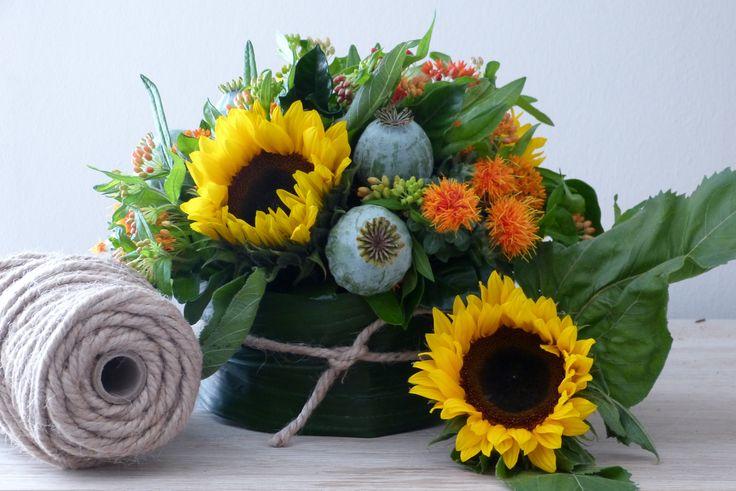 #sunflowers, #basket arrangements, #jute #floraldesign #RussianRiverFlowerSchool