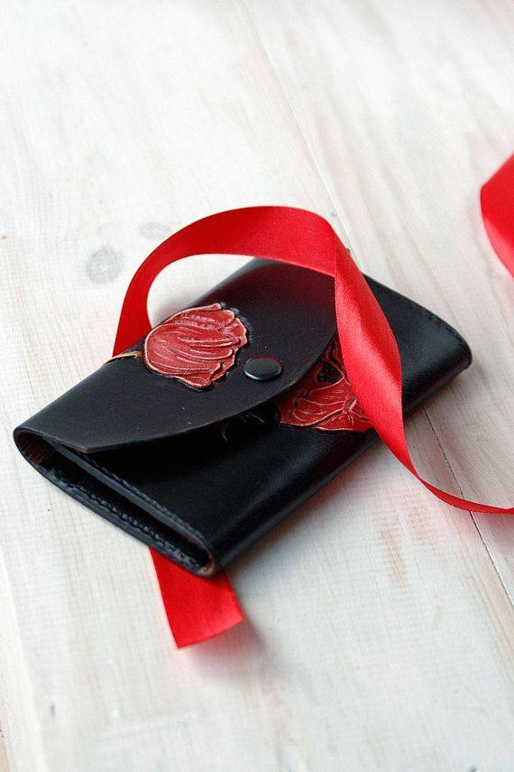 Black leather thin wallet for women Envelope Clutch Minimalist