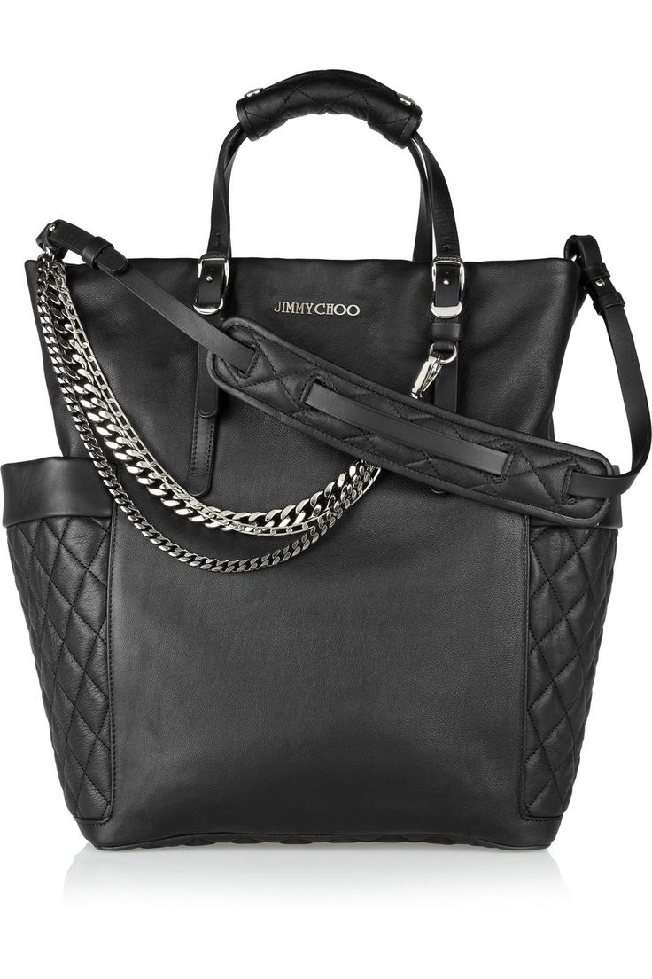 Jimmy Choo black leather chain bag