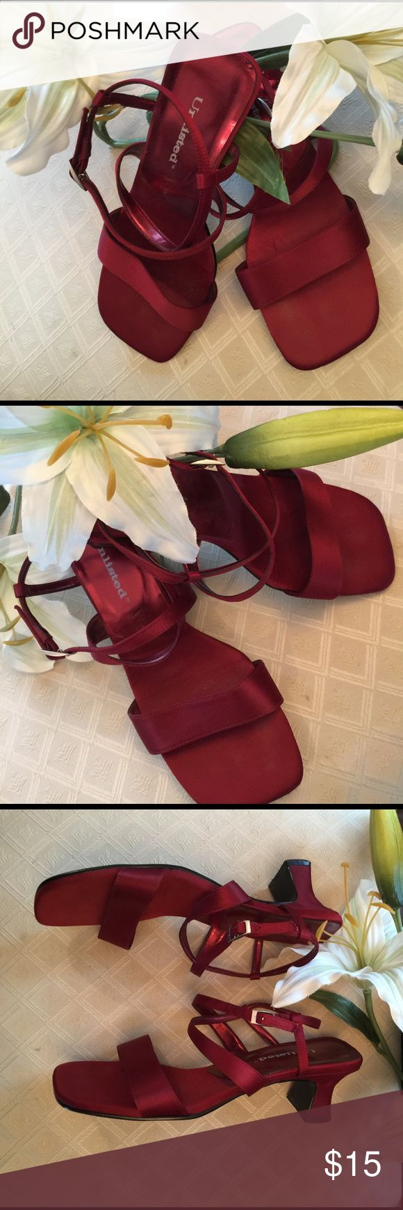 UNLISTED VELVET RUBY RED HEELS👠 Match your ruby red lips💋to these beauties, Unlisted ruby red heels👠 and be the conversation starter, or just be the conversation💋😍... Like new only worn a couple times❤️ Unlisted Shoes