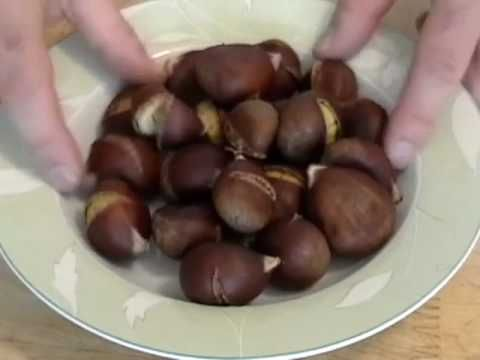How to roast a chestnut: Finally a method that works. Cut crosswise across the chestnut with a sharp bread knife. Don't use the cross method. Simmer the chestnuts in water with some salt first. Then roast on 425F for 15 minutes and cover for another few minutes. The shells will peel right off. Finally!