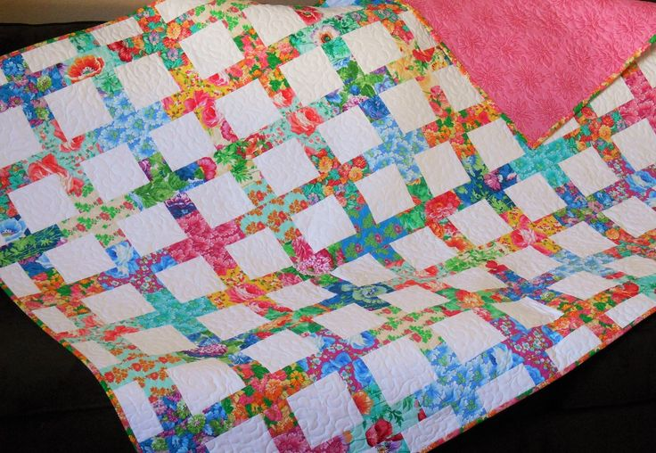 Handmade Quilt with Bright Multi-Colored Flowers, Modern Lap Quilt, Floral Quilt, Flower Quilt, Sofa Throws, Quilts and Coverlets by SusiQuilts on Etsy