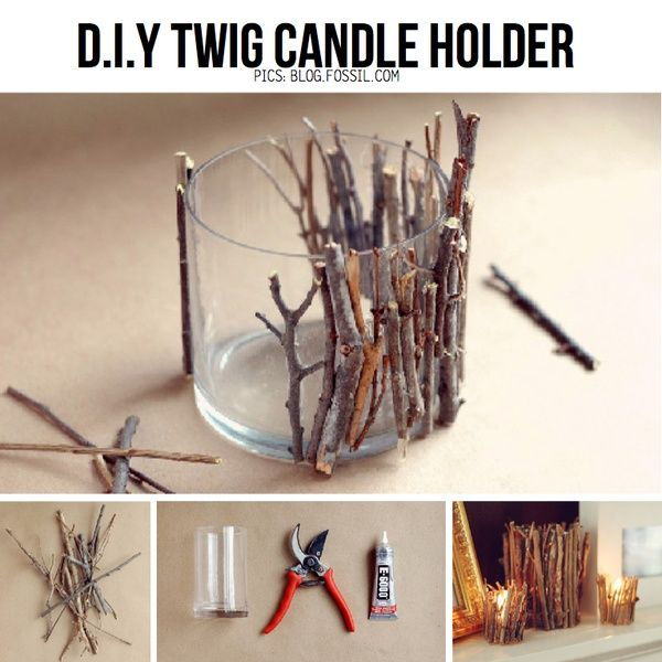 Interesting... a twig candle holder. Could also be made with other smalls straight objects, like small wooden pencils (for a child's room or classroom), toothpicks (for a beach theme or cookout- would have to have the glass walls be taller than candle or vice versa), or small glue pebbles to the glass