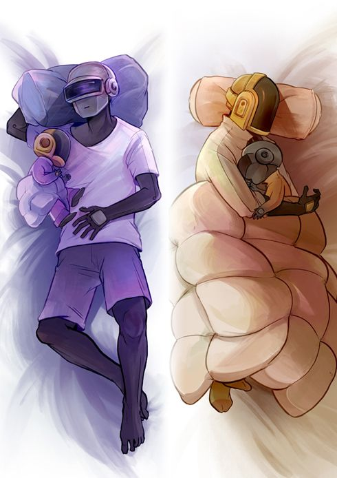 DAFT PUNK & THEY HAVE BABIES/PLUSHIES OF EACH OTHER.