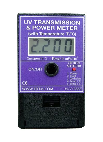 The UV1365 Meter is the most versatile product available for measuring UV.  You can measure UV intensities (irradiance), UV Transmission %, and temperature in Fahrenheit and Celsius. Buy it here $199.00