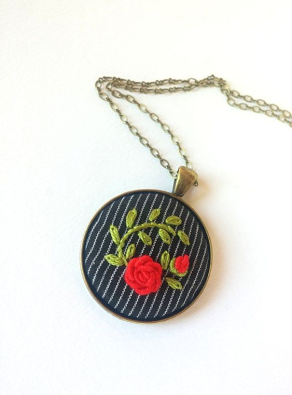 Round Rose Pendant Necklace Red Green by RedWorkStitches on Etsy