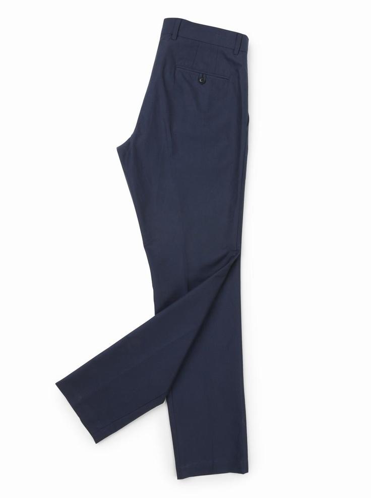 brooksfield Cotton Herringbone Trousers in blue.