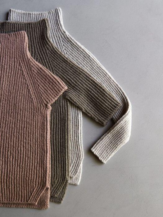Как связать спицами свитер резинкой с тремя вариантами рукавов по описанию от Purl Soho