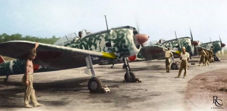 Brand new Nakajima Ki-43-IIs 'Hayabusa' (Peregrine Falcon) issued to the 64th Sentai's 2nd Chutai during the unit's seasonal break in Palembang, East Indies, August 1943. Like its Navy's counterpart,...