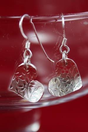 Boucles d'oreilles Coeur motif de petites fleurs