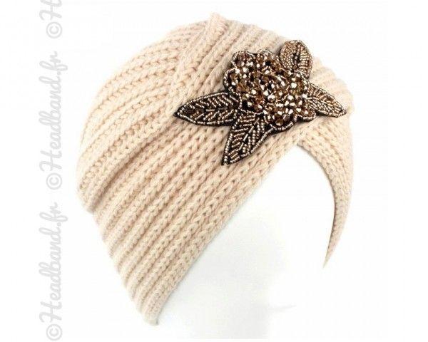 Turban chaud perles beige