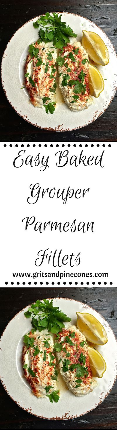 Easy Baked Parmesan Grouper Fillets is perfect for a hurried weeknight dinner with family but garnished with lemons & parsley it's elegant enough for company. www.gritsandpinecones.com
