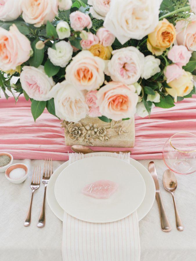 Garden rose wedding centerpiece: http://www.stylemepretty.com/2016/01/01/pantone-rose-quartz-bridal-inspiration-shoot/ | Photography: Tenth & Grace - http://www.tenthandgrace.com/