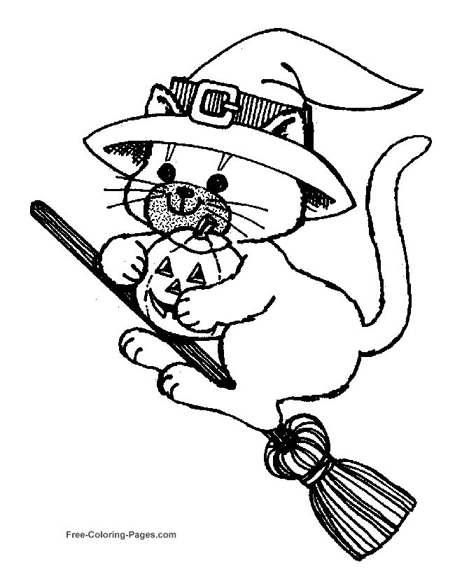 halloween coloring pages cat on broom