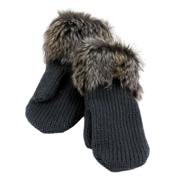 Women Knit Mitts Mittens Dark Gray with Faux Fur Cuffs Polyester Blend NWT New #Simi #Mittens