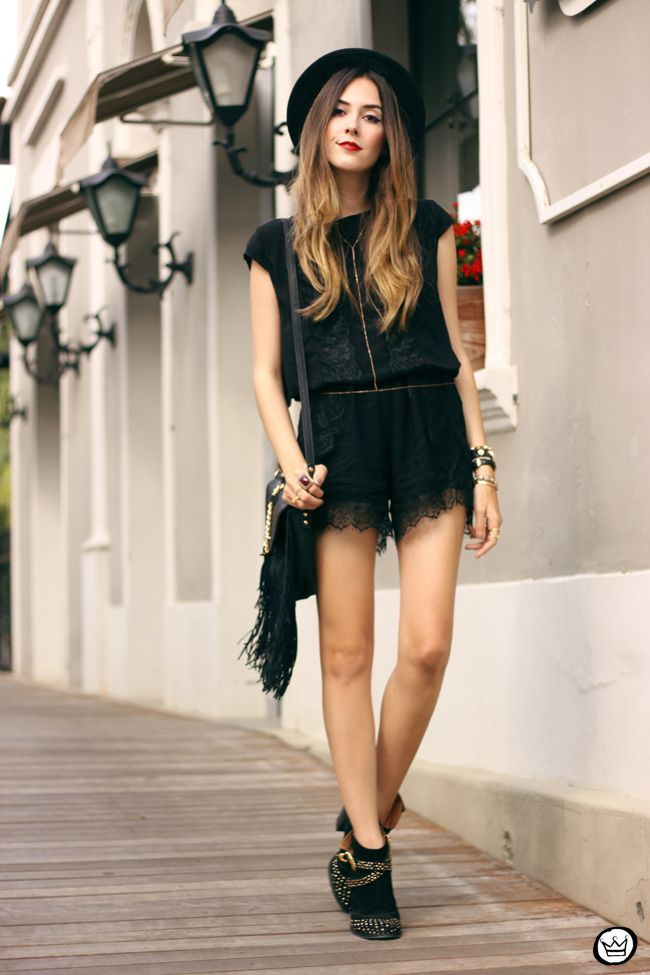 edgy accessories with lace romper