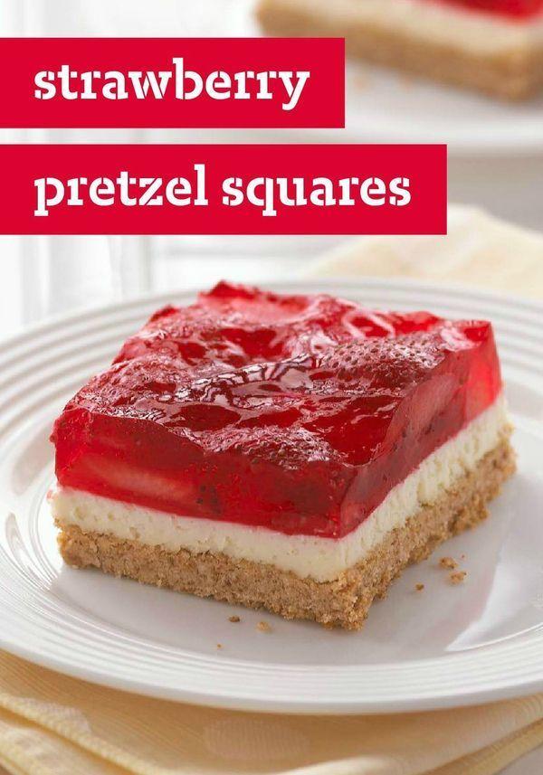 Strawberry Pretzel Squares -- This classic summer dessert recipe ...