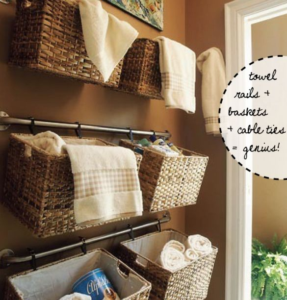 Baskets on curtain rods.  This may be cute on the big blank wall in the kitchen...or...for scraps & supplies in the office.