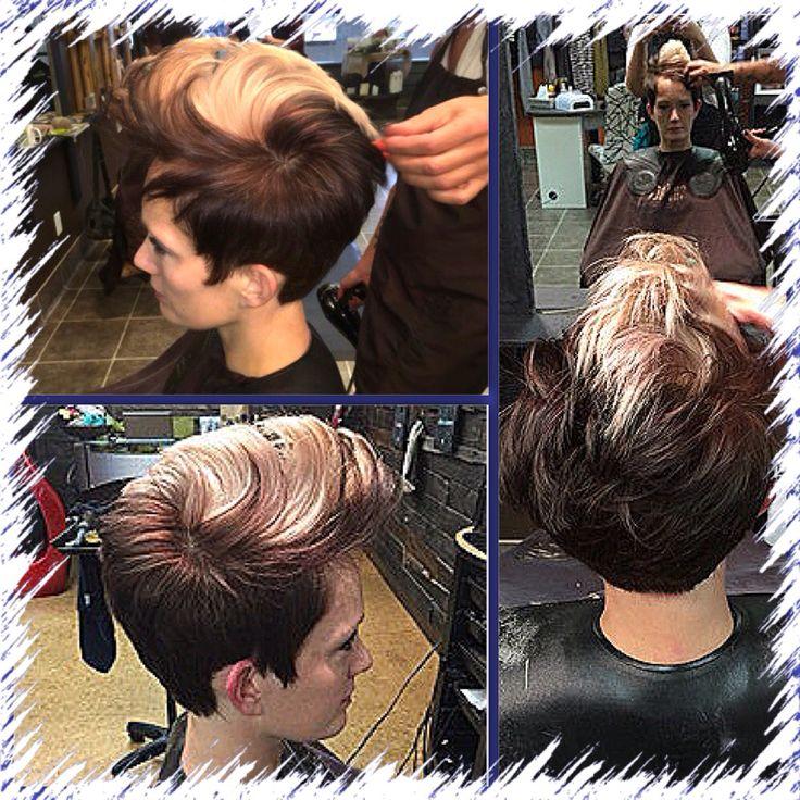 Beautiful two toned short hair style! Cut, coloured and styled by Michele Spooner  #loveit #shorthairstyles #twotoned