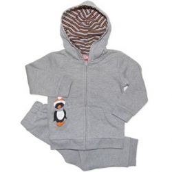 Very cute penguin track suit set with lined hood and fleecy inside, with matching fleecy pants and a tie up waist. Sizes 0000, 000, 00, 0, 1 & 2.