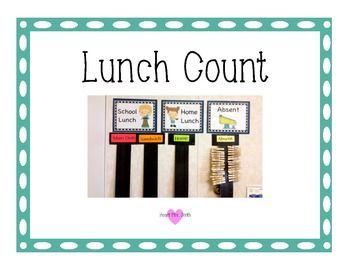 This is a great way to simplify attendance and also keep track of the lunch count. At the beginning of the day have the students put the clothes pin that has their name on it on the home lunch or school lunch strip.Choices include:Home LunchSchool LunchAbsentBreakfastI have also included a copy with a black border.