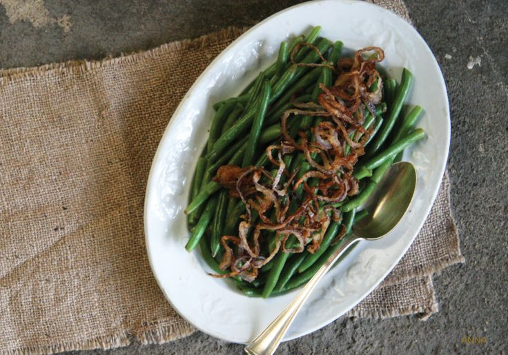 Green beans with crispy onions. Like onion rings on green beans....We love this recipe!