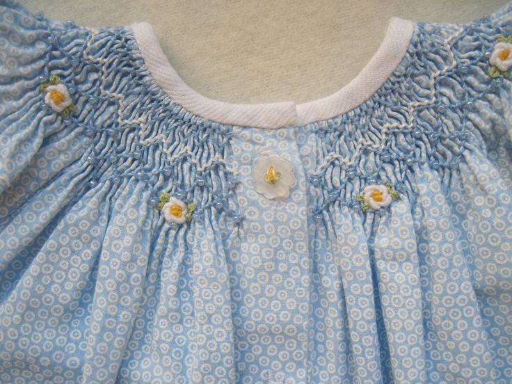 Bishop dress with simple smocking pearls and