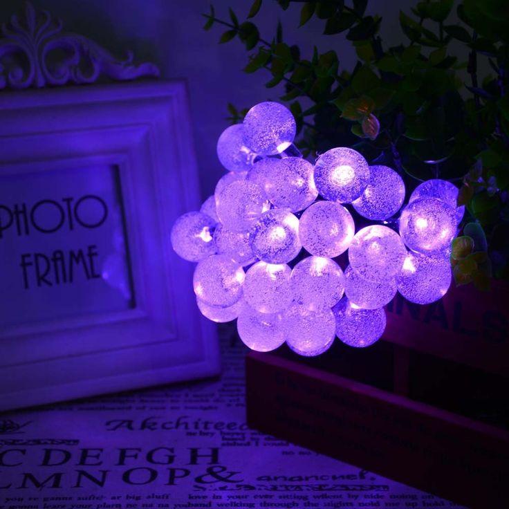 ledertek solar outdoor string lights 197ft 30 led purple crystal ball solar powered globe fairy light decorationshalloween - Solar Halloween Decorations