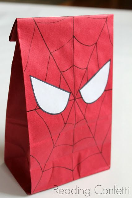 party favors bag (buy red lunch bags at Target and use black marker for lines and white paper for eyes)