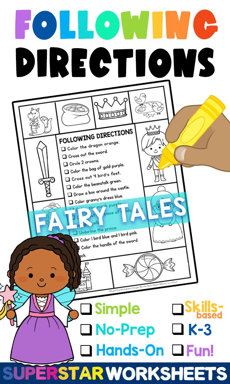 Following Directions Listening Skills Worksheets With Fairy Tales In 2021 Listening Skills Worksheets Listening Skills Following Directions