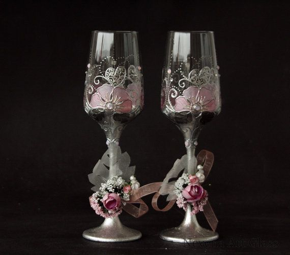 Wedding Glasses, Champagne Glasses, Champagne Flutes, Blush Pink Silver Glasses, Hand Painted, set of 2