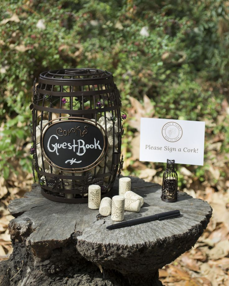 Wine Barrel Chalkboard Cork Cage guestbook idea for vineyard wedding. - Wine Country Occasions, www.winecountryoccasions.com