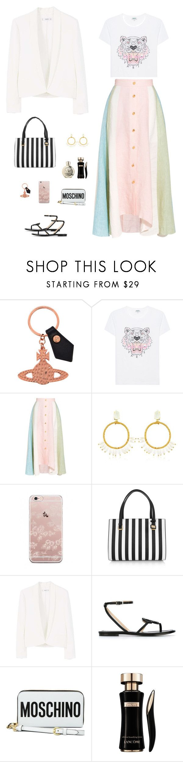 """""""Peter Pilotto Long Linen Skirt"""" by sol4ange ❤ liked on Polyvore featuring Vivienne Westwood, Kenzo, Peter Pilotto, VANINA, Dolce&Gabbana, MANGO, Emilio Pucci, Moschino, Lancôme and Versace"""