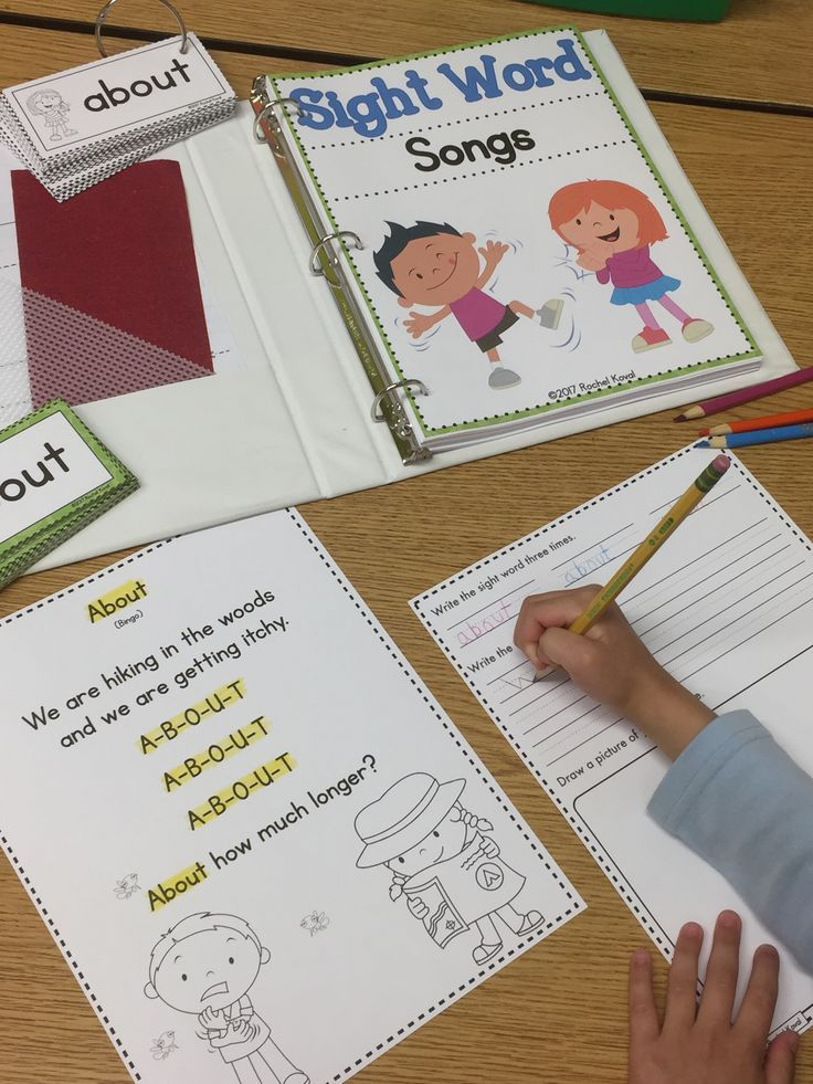 Sight Word Songs  Sight word time is a favorite in our class. We grab our instruments, dance, and sing around the room and sometimes down the hall! Copy the poems and arrange in a three ring binder, print out the black and white sight word cards and attac