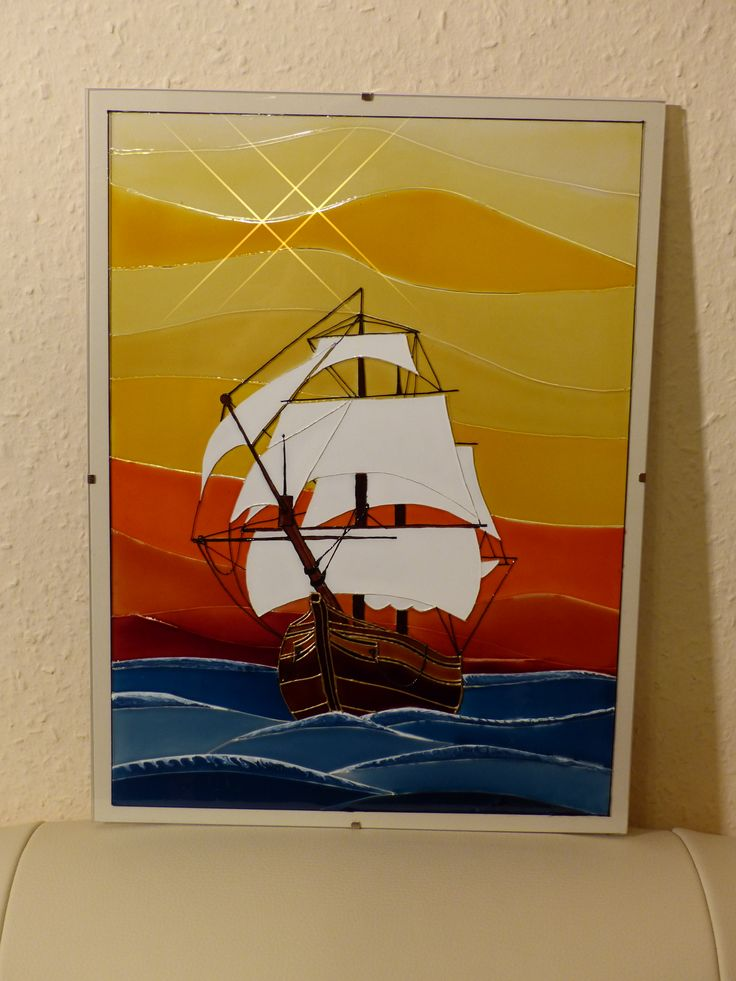 stained glass - Sailboat = Üvegfestés - Vitorlás