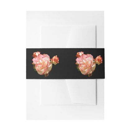 #Rose Flower Botanical Red Love Wedding floral Pink Invitation Belly Band - #wedding gifts #marriage love couples