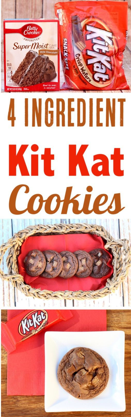 Chocolate Cookie Recipes!  These Easy Kit Kat Cookies are the ultimate treat for chocolate lovers... just 4 Ingredients and SO delicious!  Make some for dessert this weekend!