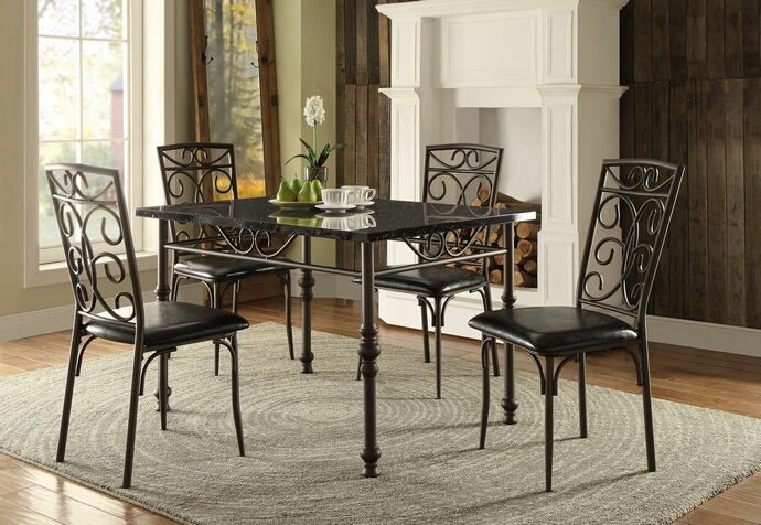 Home Elegance 5268 48 5 Pc Dryden Collection Faux Marble Top