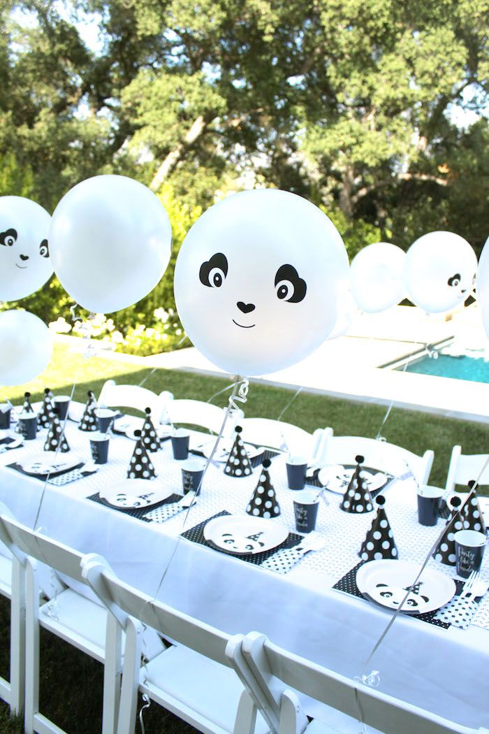 Squee!!! Adorable party table with panda balloons from a chic Party Like a Panda Birthday Party at Kara's Party Ideas. See this monochromatic party and more at karaspartyideas.com!
