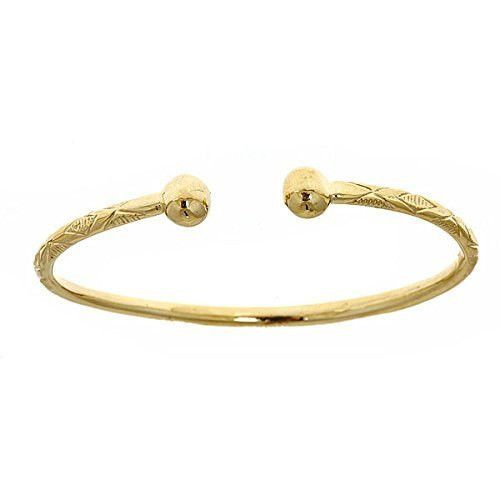 14K Yellow Gold West Indian Bangle w. Ball Ends