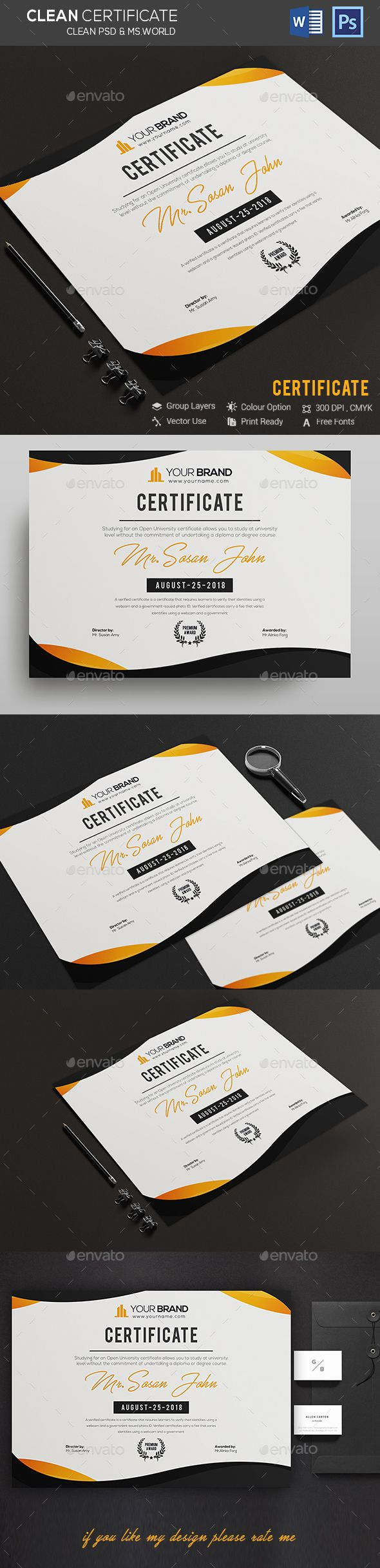 Certificate Certificate Template psd file and ms word file include Fully Clean Certificate A4 Paper Size With Bleeds Quick and easy to customize templates Any Size Changes Fully Group Layer Free Fonts Use Fully Vector